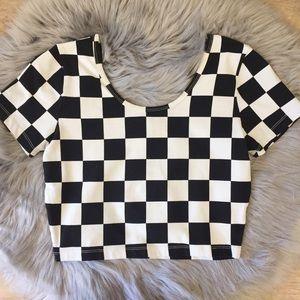 NWT F21   Checkered Scoop-Neck Crop Top